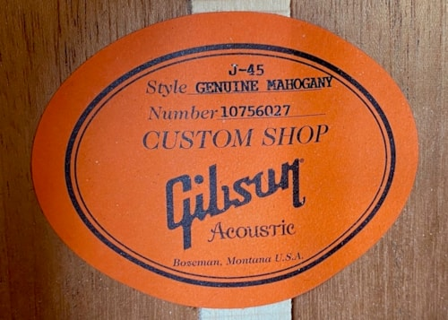 2016 Gibson J-45 Genuine Mahogany Ltd. Ed. Natural Mahogany