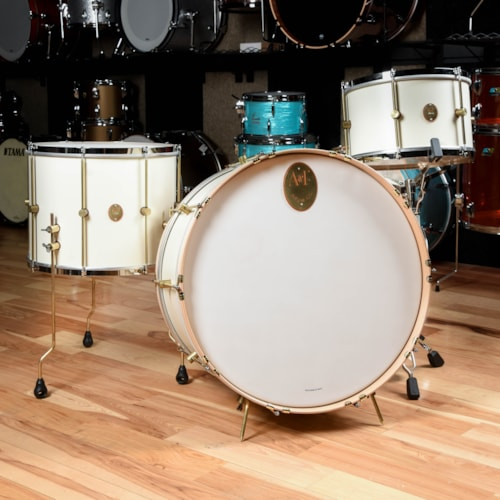 A&F Drum Co. 14/18/26 3pc. Maple Club Drum Kit Antique White 1901 Limited Edition