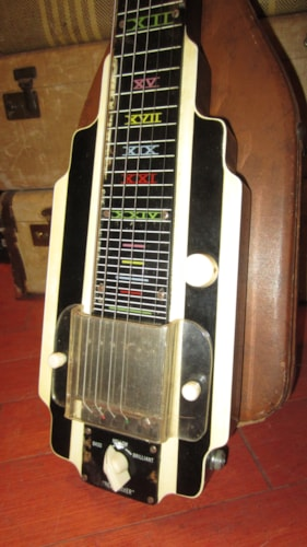 1952 Valco Made National New Yorker Art Deco Lap Steel Black and White Art Decco