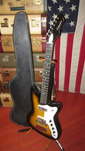 1964 Silvertone Bobkat Sunburst, Excellent, Original Soft, $599.00