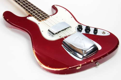 1965 Fender Jazz Bass Candy Apple Red Custom Color - No Binding, Dot Inlays, Matching Headstock!