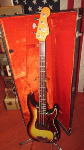 1966 Fender® Precision Bass® Sunburst, Excellent, Original Hard, $5,999.00
