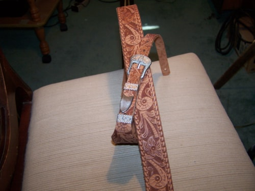 ~1968 Gretch Tooled Guitar Strap Brown