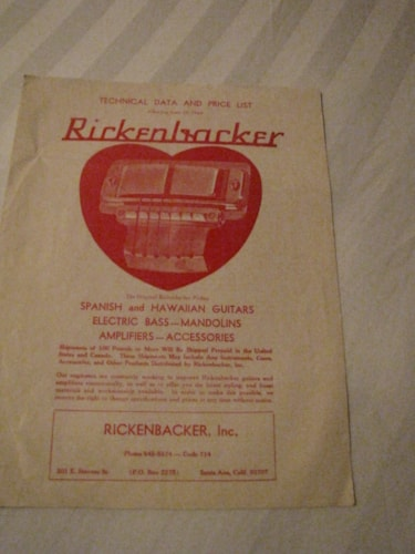 1968 Rickenbacker 1968 Catalogs all models Yes, Excellent
