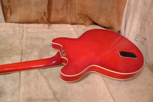 1974 Aria 5520 Thinline Bass Guitar Cherry Red, Excellent, GigBag, $750.00