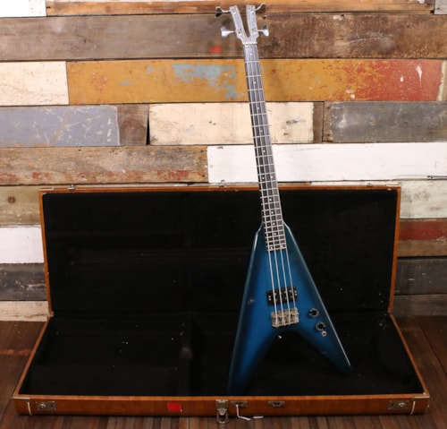 1980's Kramer Flying V Bass Aluminum Neck Blue Burst w/ OHSC