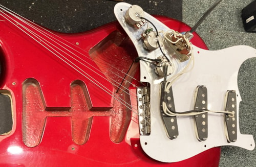 ~1989 48th Street Custom Guitars Strato Style Candy Apple Red