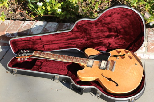 1997 Gibson ES 335 Dot Neck flamed top with case, as new.