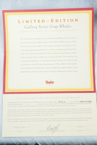 MINT 2001 Taylor Gray Whales GSGW Gallery Series! Exotic Ziricote! Grand Concert