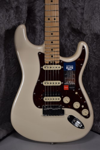 2015 Fender American Elite Stratocaster Olympic Pearl Finish Electric Guitar w/OHSC