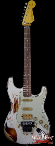 2017 Fender Custom Shop White Lightning Stratocaster Floyd Rose HSS Rosewood Fretboard 3 Tone Sunburst Olympic White Over 3 Tone Sunburst
