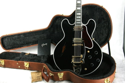 2017 Gibson ES-355 EBONY BLACK Gloss Limited Edition! Gold Bigsby! Memphis 335 345