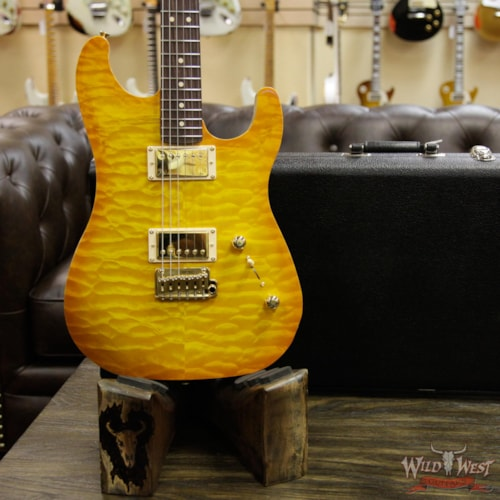 2017 LSL Instruments LsL XT2 Deluxe HH Quilt Maple Top and Roasted Quartersawn Maple Neck Amber Top and Brown Back Trans Amber, Brand New, $3,099.00