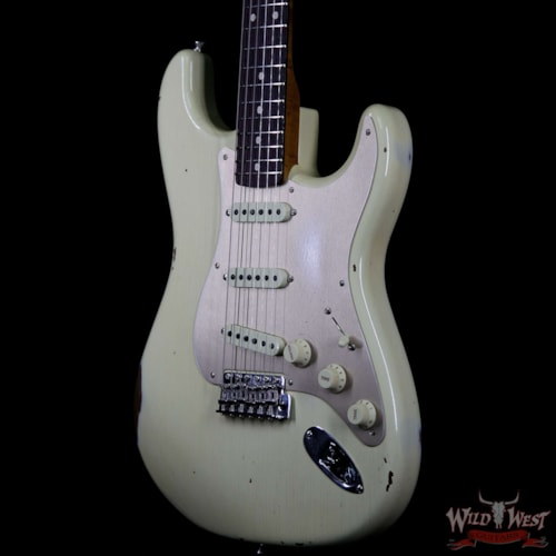 2019 Fender Custom Shop Roasted 1960 Stratocaster Relic AAA Birdseye Maple Neck 3A Rosewood Slab Board Aged Vintage White Aged Vintage White