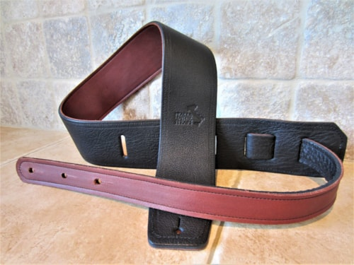 """2020 Italia Leather Straps 2.5"""" Black-Cognac Guitar/Bass Strap w/leather backing"""