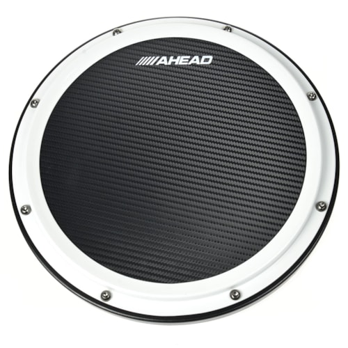 """Ahead 14"""" White/Black S-Hoop Marching Pad with Snare Sound (Black Carbon Fiber)"""