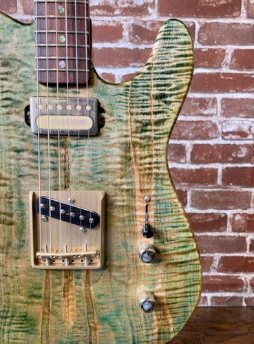"Aniktos Guitars T-Style ""Green Flame"" 2020 Green Flame Maple Top, Chambered Body (Authorized Dealer)"