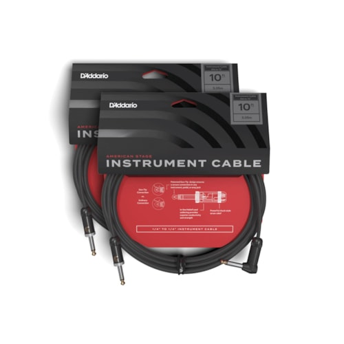 D'Addario American Stage Instrument Cable Right-Angle/Straight 10' 2 Pack Bundle