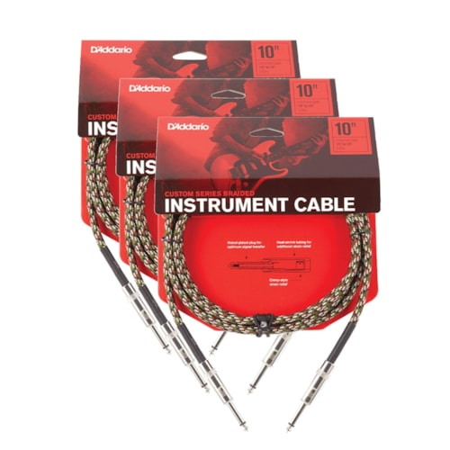 D'Addario Braided Camouflage Instrument Cable 10' Straight-Straight 3 Pack Bundle