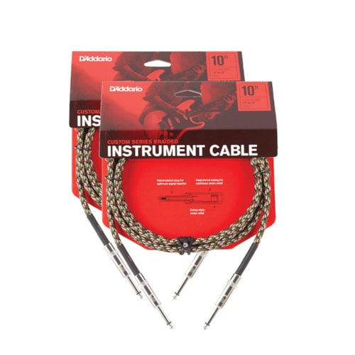 D'Addario Braided Camouflage Instrument Cable 10' Straight-Straight 2 Pack Bundle