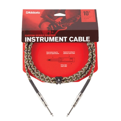 D'Addario Braided Camouflage Instrument Cable 10' Straight-Straight
