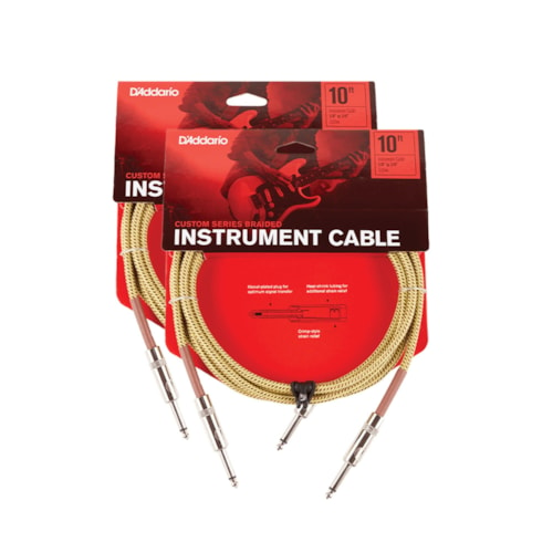 D'Addario Braided Tweed Instrument Cable 10' Straight-Straight 2 Pack Bundle