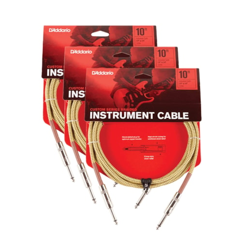 D'Addario Braided Tweed Instrument Cable 10' Straight-Straight 3 Pack Bundle
