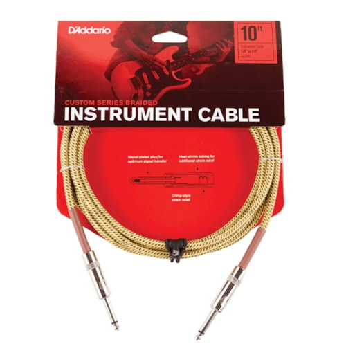 D'Addario Braided Tweed Instrument Cable 10' Straight-Straight