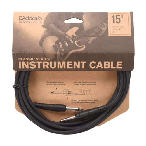 D'Addario Classic Instrument Cable 15' Straight-Straight