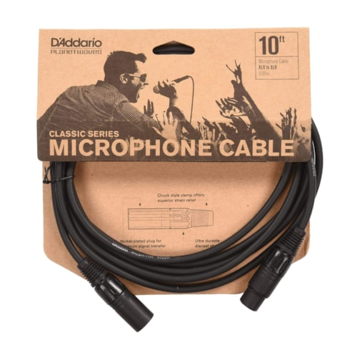 D'Addario Classic Series Microphone Cable 10'