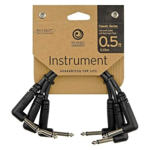 D'Addario Classic Series Right Angle 6 Inch Patch Cable (3 Pack)