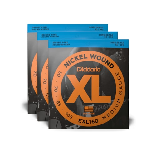 D'Addario EXL160 Medium Gauge 50-105 Long Scale 3 Pack Bundle