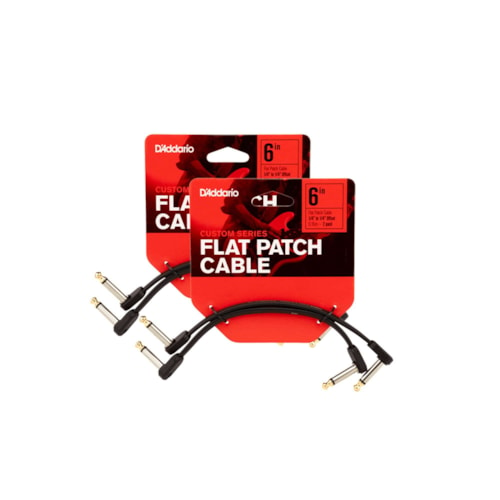"""D'Addario Flat Patch Cable 6"""" Offset Right Angle 4 Pack Bundle"""