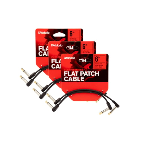 """D'Addario Flat Patch Cable 6"""" Offset Right Angle 6 Pack Bundle"""