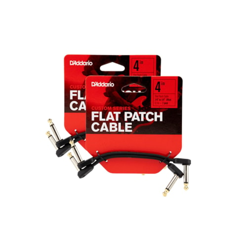 """D'Addario Planet Waves Flat Patch Cable 4"""" Offset Right Angle 4 Pack Bundle"""