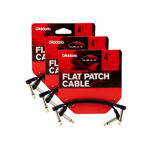 """D'Addario Planet Waves Flat Patch Cable 4"""" Right Angle 6 Pack Bundle"""