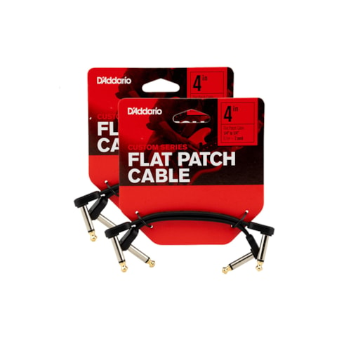"""D'Addario Planet Waves Flat Patch Cable 4"""" Right Angle 4 Pack Bundle"""