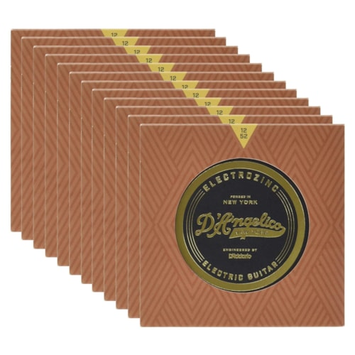 D'Angelico Jazz 12's Electrozinc Electric Guitar Strings 12 Pack Bundle