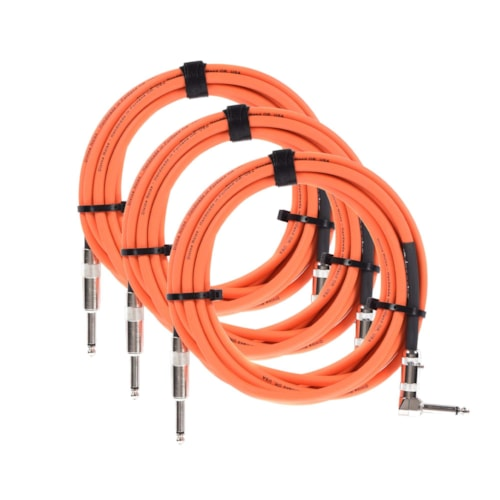 Divine Noise Straight Cable Orange 15' Straight/Right Angle 3 Pack Bundle