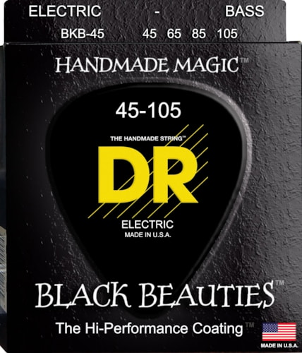 DR Strings Black Beauties - Extra-Life Black-Coated Bass 45-105