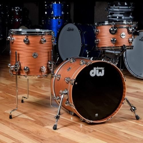 DW Collector's Series 12/14/18 3pc. Mahogany/Spruce Drum Kit Natural Hard Satin w/Die Cast Hoops