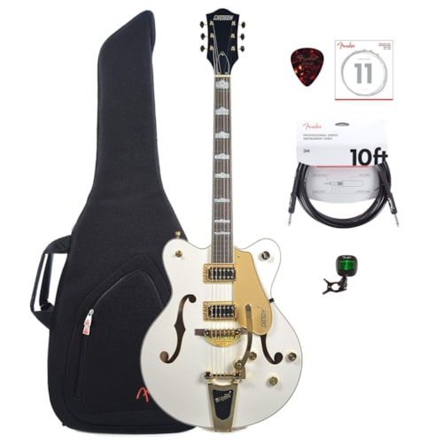 Gretsch G5422TG Electromatic Hollow Body with Bigsby Double-cut Snowcrest White with Gold hardware w/Gig Bag, Tuner, (1) Cable, Picks and Strings Bundle