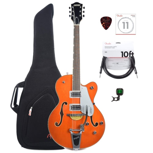Gretsch G5420T Electromatic Hollow Body Orange w/Bigsby w/Gig Bag, Tuner, (1) Cable, Picks and Strings Bundle