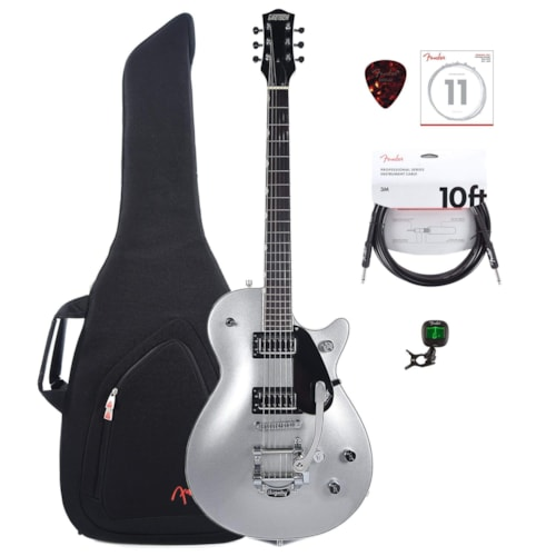 Gretsch G5230T Electromatic Jet FT Airline Silver w/Gig Bag, Tuner, (1) Cable, Picks and Strings Bundle