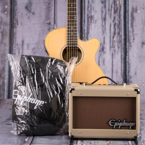 Used Epiphone PR-4E Acoustic/Electric Player Pack, Natural