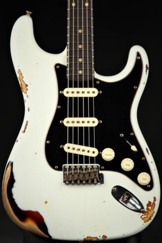 Fender Custom Shop Limited Edition Dual-Mag II Stratocaster® Relic® RW - Olympic White Over 3TSB