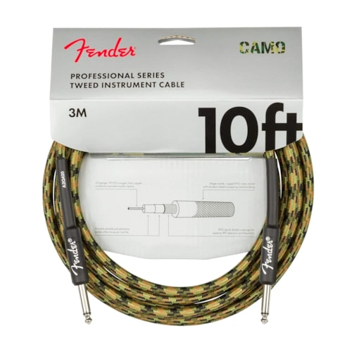 Fender Professional 10' Instrument Cable Woodland Camo