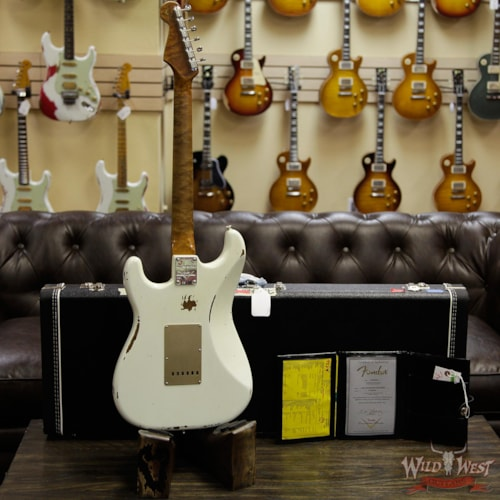 1960 Fender Custom Shop 1960 Roasted Stratocaster Relic AAA Birdseye Maple Neck 3A Rosewood Slab Board Aged Olympic White Aged Olympic White
