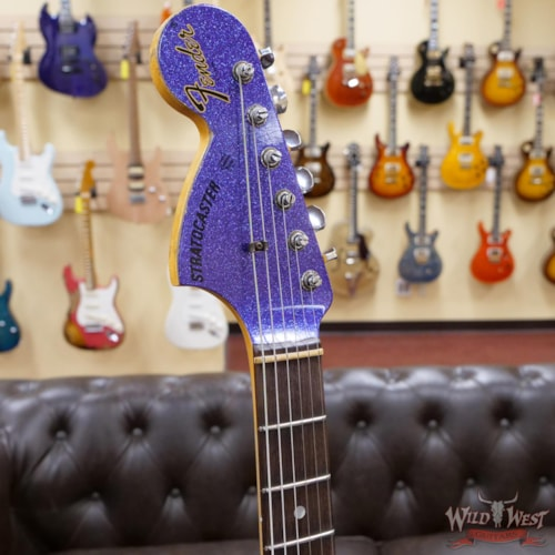 Fender Custom Shop 1969 Stratocaster Reverse Matching Color Headstock Heavy Relic Purple Sparkle