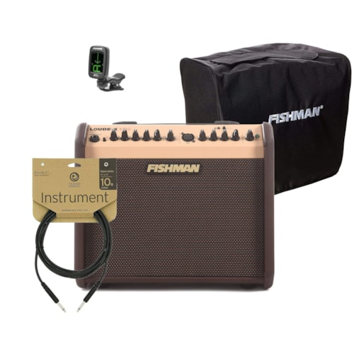 Fishman Loudbox Mini Bluetooth 60W w/Mini Slip Cover and FT-2 Clip-On Digital Tuner and Cable Bundle